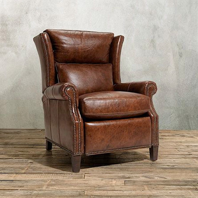 SOLD  Arhaus Hurst Leather Reclining Wing Chair