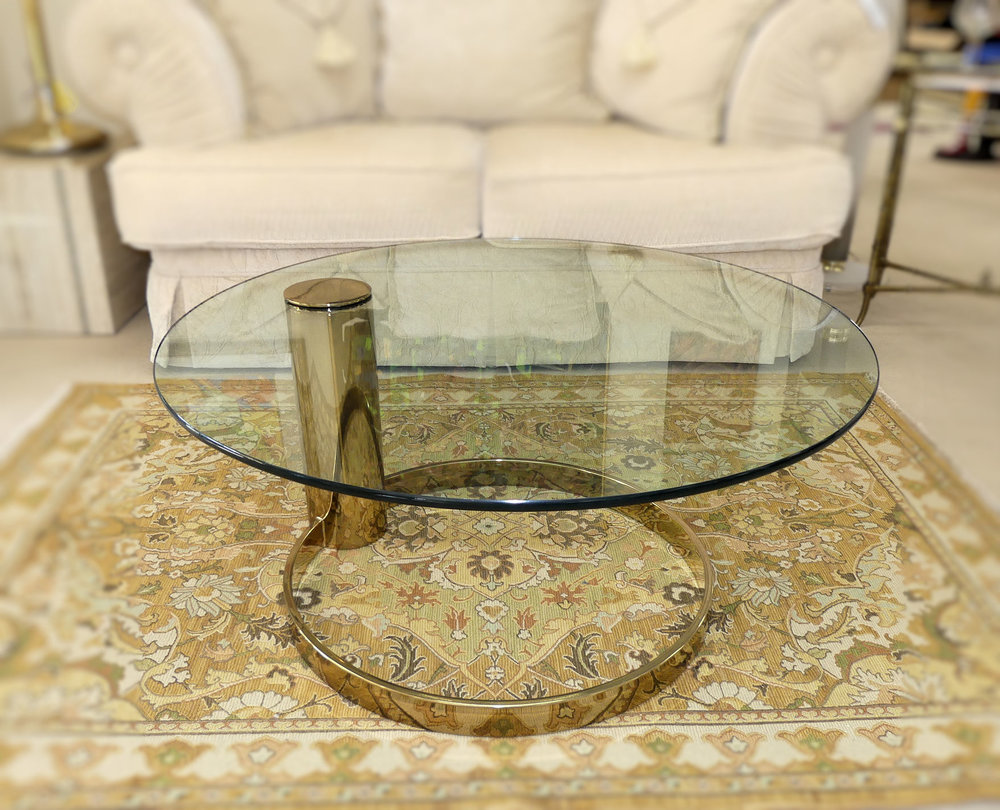 SOLD  Pace Brass and Glass Coffee Table