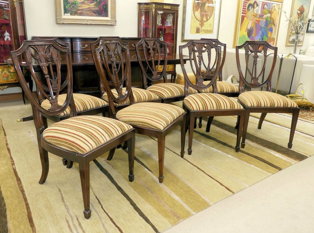 SOLD  Set of 8 Henkel Harris Mahogany Shield Back Dining Chairs