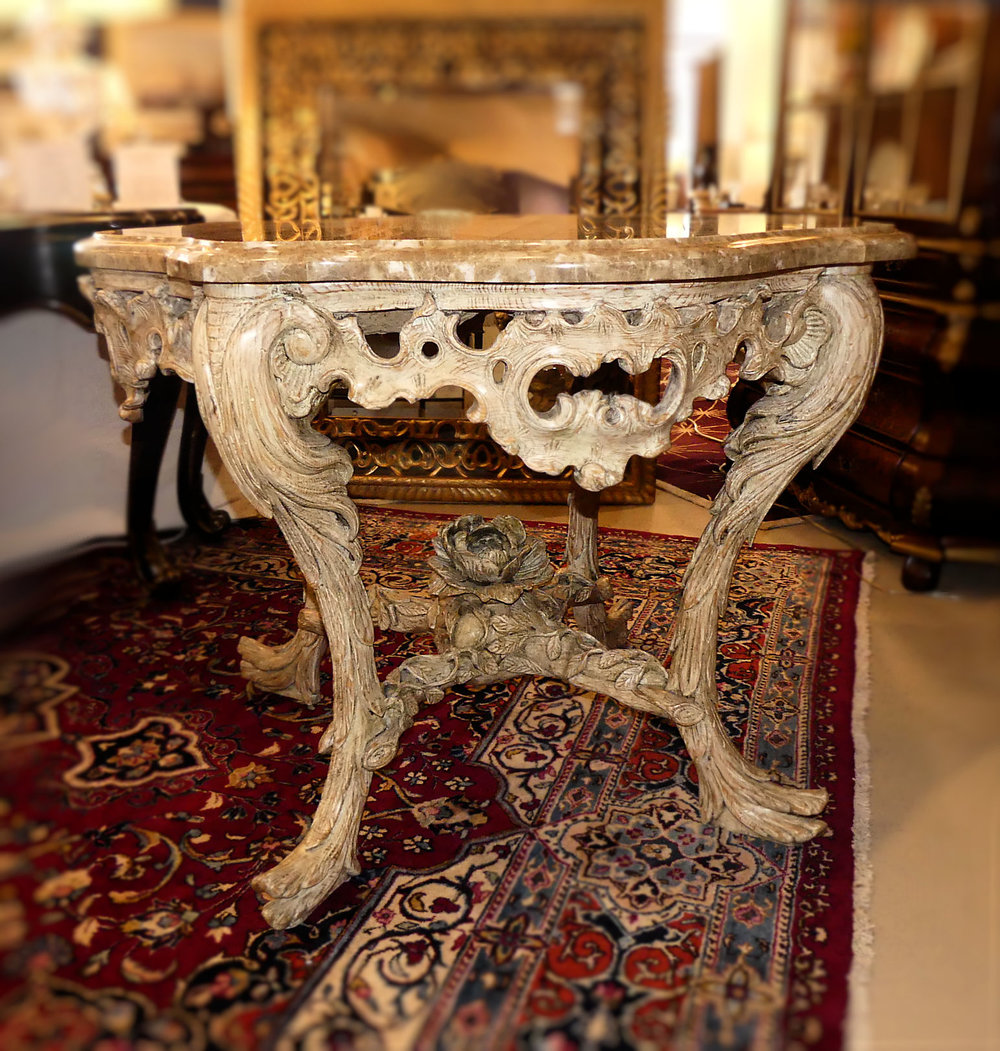 William Switzer Hand Carved Wood Center Table with Marble Top   REDUCED: $2,395