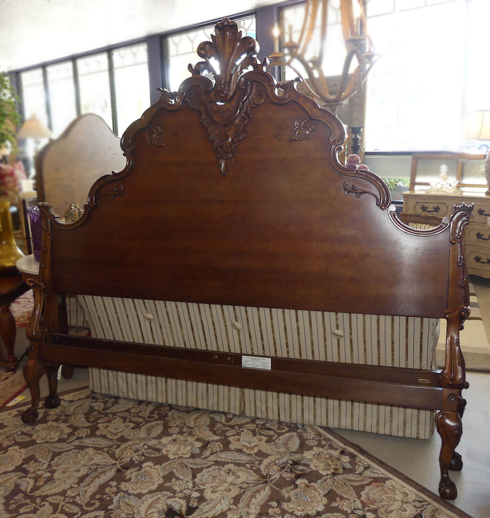 Ralph Lauren Carved Wood Hudson French Style King Size Bed by Henredon Solid Wood Bedroom Furniture Made in America USA