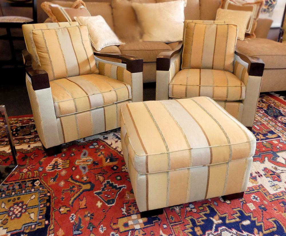 Pair of 2 Donghia Woodbridge Club Chairs with Ottoman  $2,900