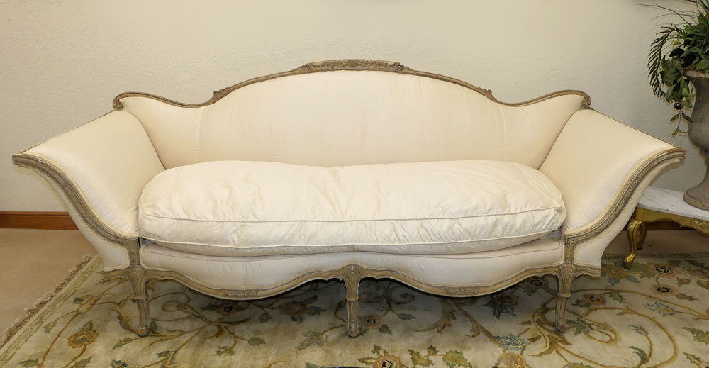 SOLD  Italian Venetian Carved Wood Sofa in Silk