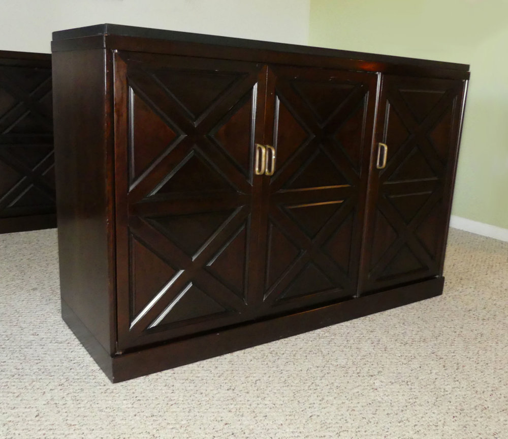 Slate Top Mahogany Cabinet   Attributed to Johnson Furniture for Directional Industries  $995