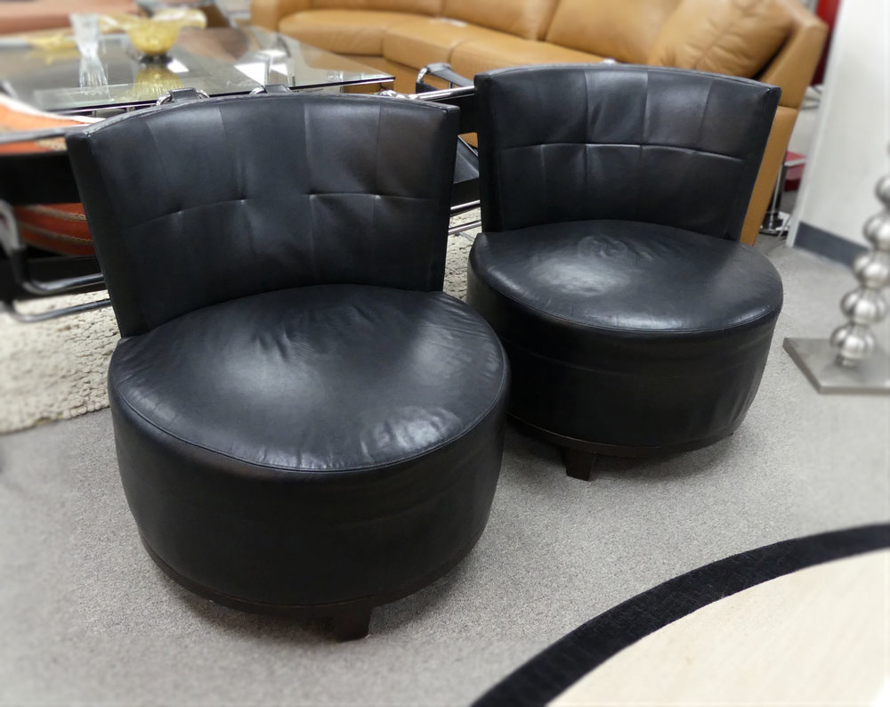Pair of 2 Barbara Barry Boudoir Leather Swivel Chairs  $1,100