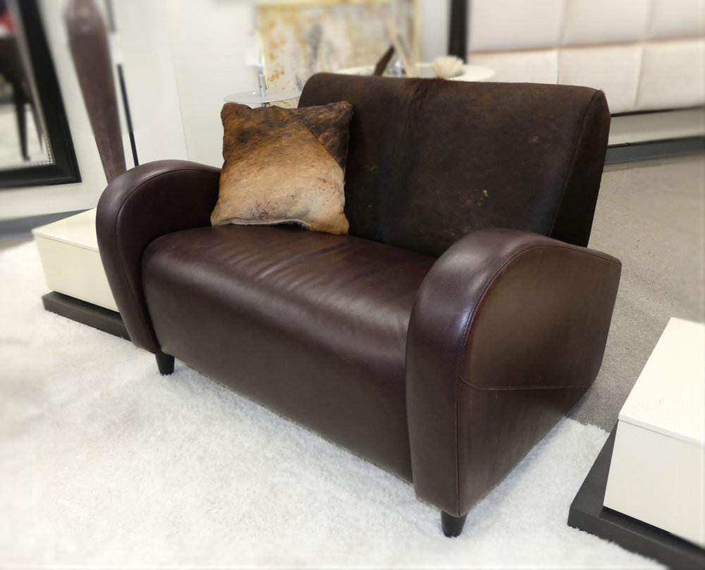 SOLD  High End Design NS Leather Loveseat with Hair On Leather