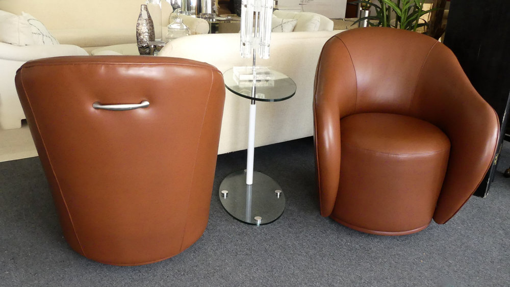 SOLD  Pair of Contemporary Brown Tub Chairs