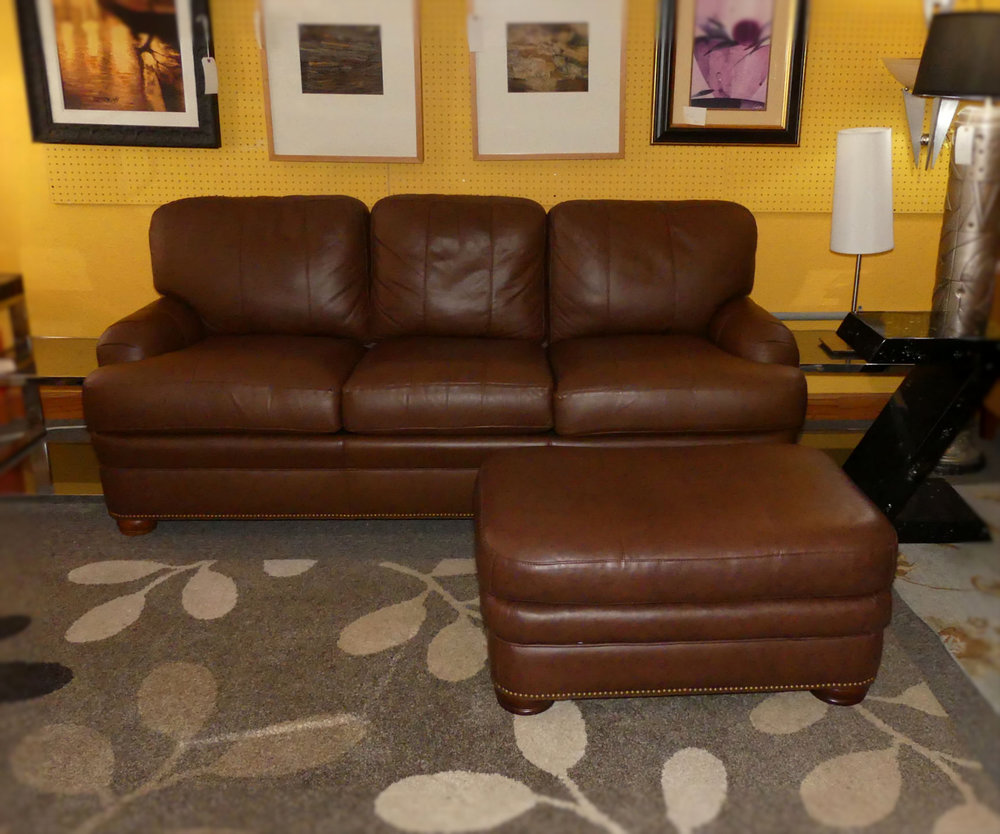 SOLD Hancock & Moore Leather Sleeper Sofa with Ottoman