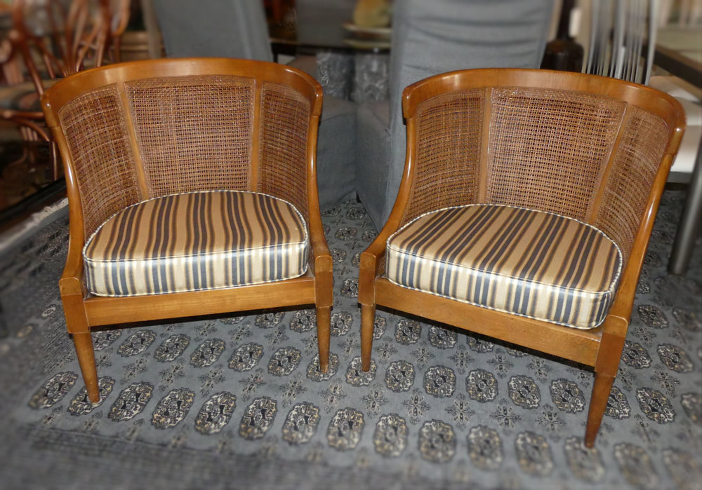 SOLD  Pair of American of Martinsville Caned Back Tub Chairs