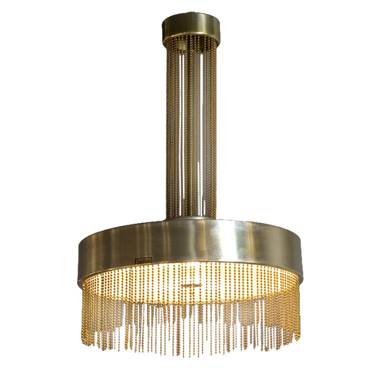 Pierre Cardin 1970s Brass Beaded Pendant Chandelier