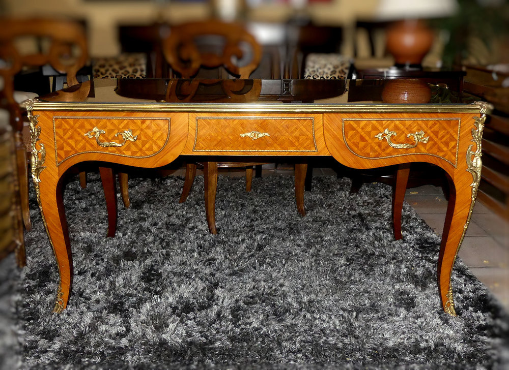 SOLD  French Louis XV Style Desk with Brass Mounts