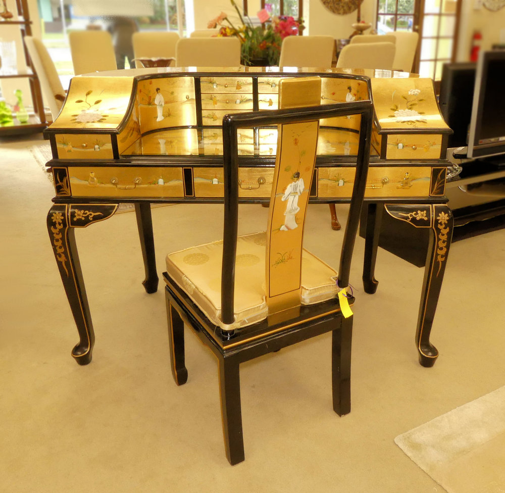 SOLD  Gold Leaf Asian Chinoiserie Desk with Chair