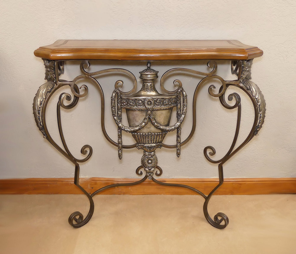SOLD Maitland Smith Leather Top Console Table