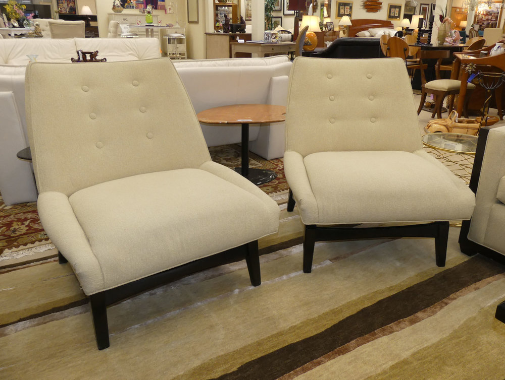Pair of 2 John Charles Designs Contemporary Sofa Slipper Chairs REDUCED: $795
