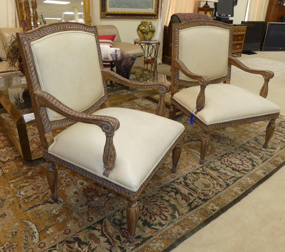 SOLD  Pair of 2 Kreiss Carved Wood and Leather Armchairs
