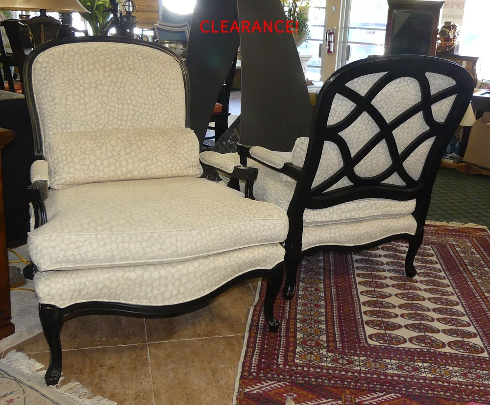 SOLD  Pair of Sam Moore French Painted Bergere Chairs