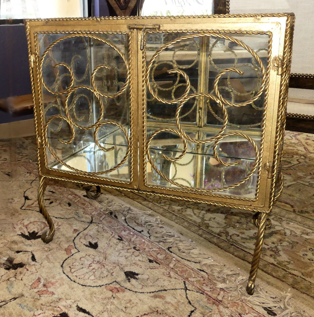 Vintage Iron Display Cabinet, Table or Nightstand  $795