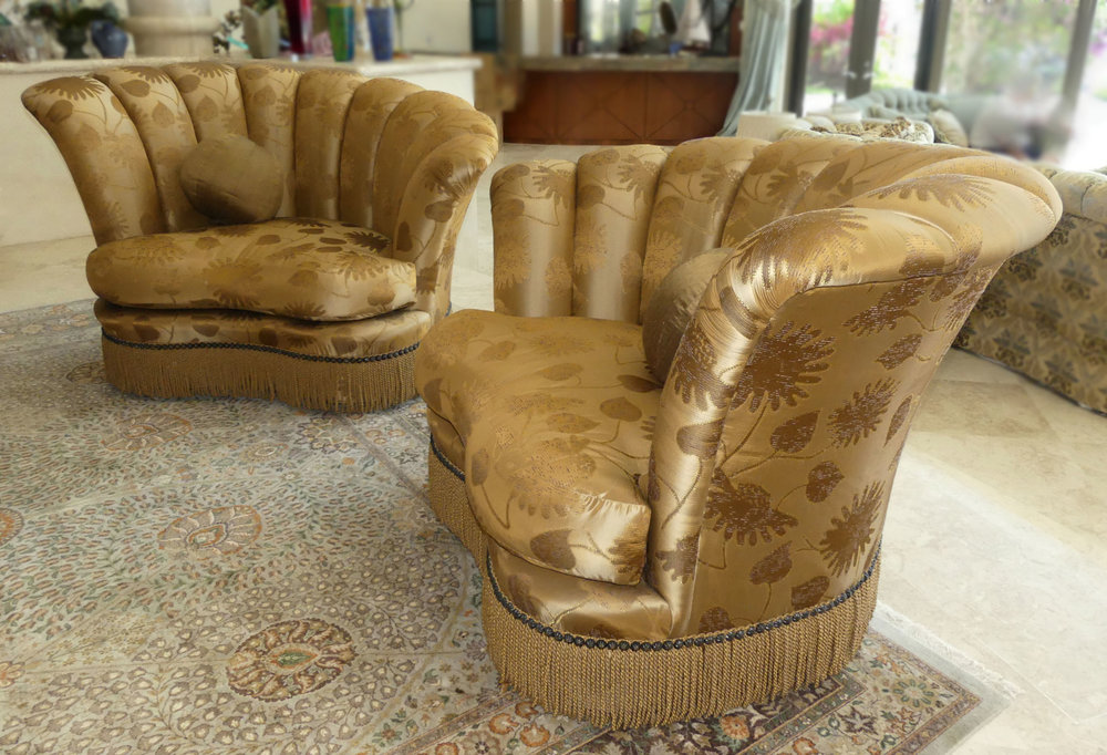 """Pair of Marge Carson """"Diva"""" Lounge Chairs Pristine - Immaculate - Wow!  Retail: $9,000 /  Our Price: $4,295"""