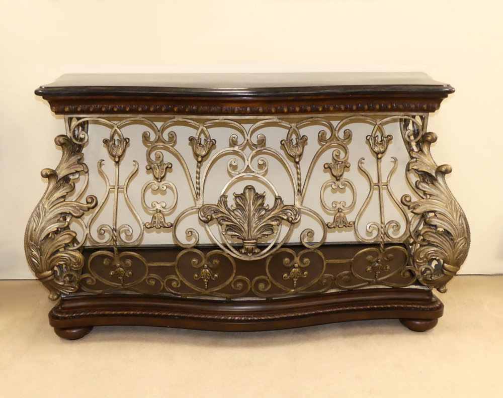 SOLD  Pulaski Bombe Style Marble Top Iron Console Table