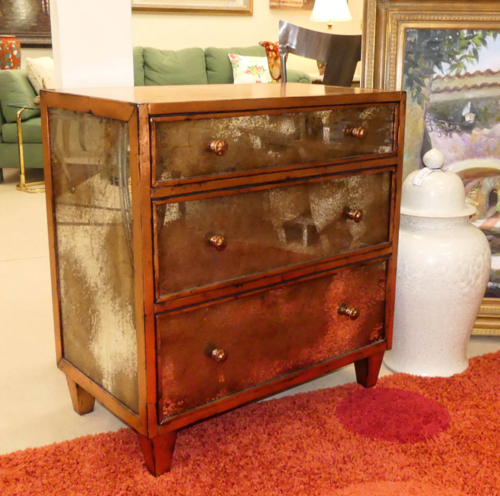 CR Currin Mirrored Chest in Copper New - Showroom Display Model  $895