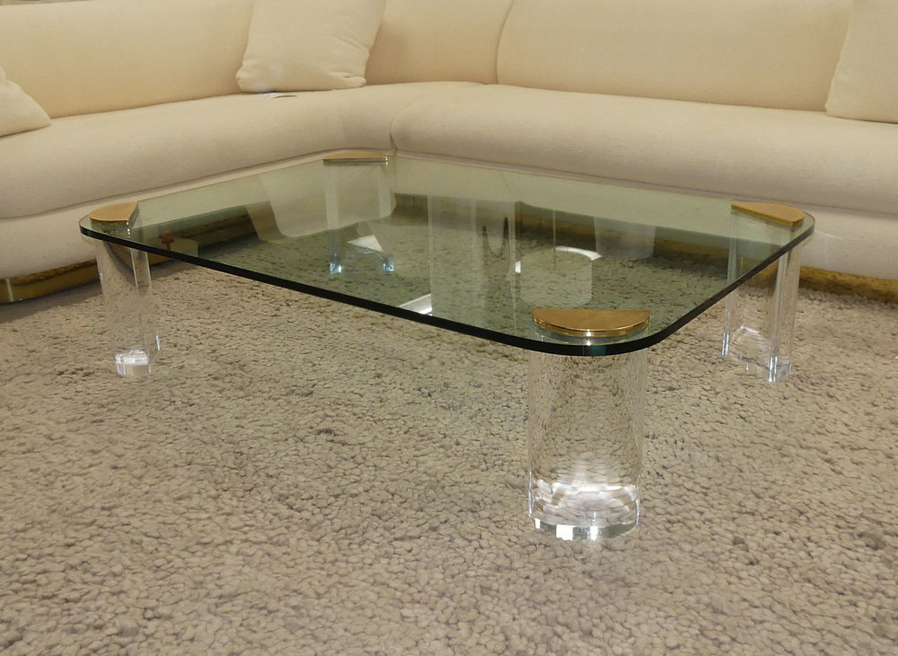 Pace Mid-Century Modern Lucite Brass and Glass Coffee Table $2,400
