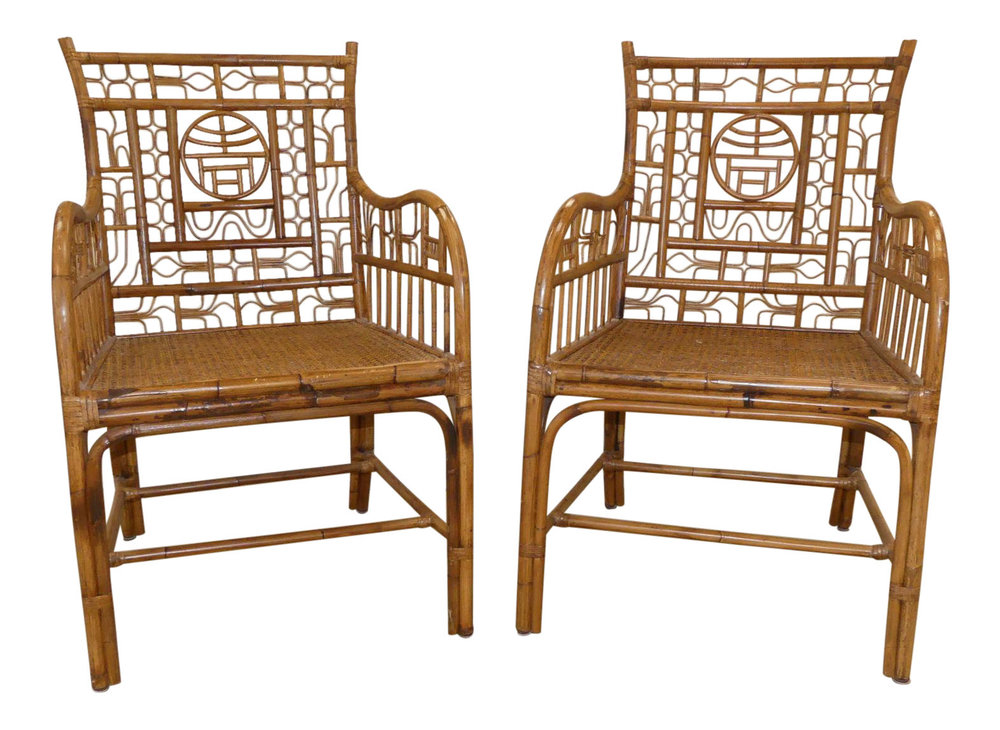 SOLD Pair of 2 Century Chair Company Bamboo/Rattan Chinese Chippendale Armchairs