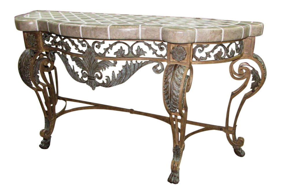Maitland Smith Tiled Stone Top Iron Console Table Sofa Table Entry Table Hall Table