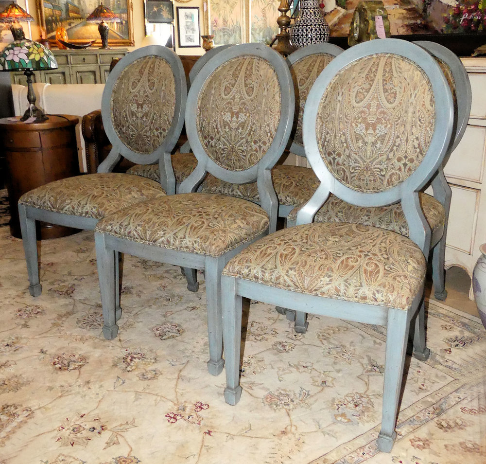 SOLD  Set of 6 Lorts French Oval Back Dining Chairs