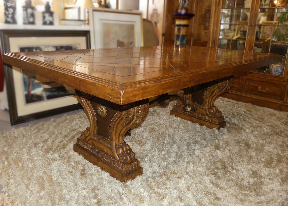 Ferguson Copeland Highlands Trestle Base Dining Table w 2 Leaves  (no chairs) $1,595