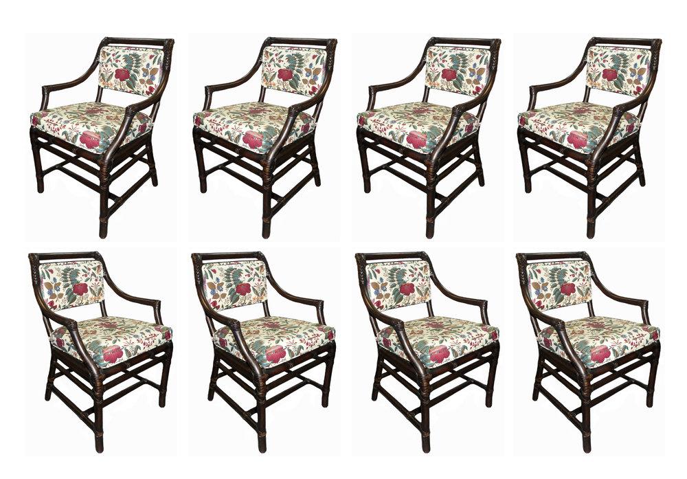 Set of 8 McGuire Rattan Armchairs  $3,200