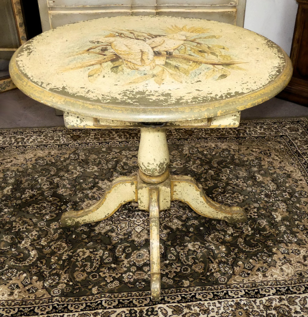 SOLD  Hand Painted and Distressed Accent Table with Bird Moti f