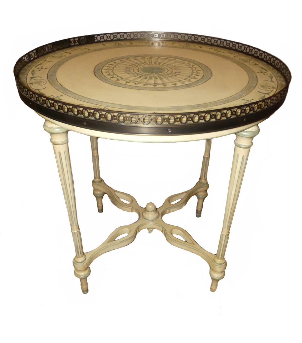 Hand Painted Italian Style Accent Table with Brass Gallery  $650