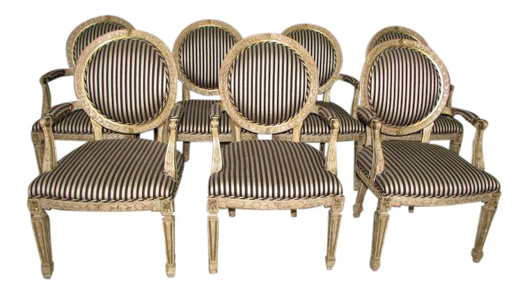 French Louis XV Hand Carved Oval Back Arm Chairs