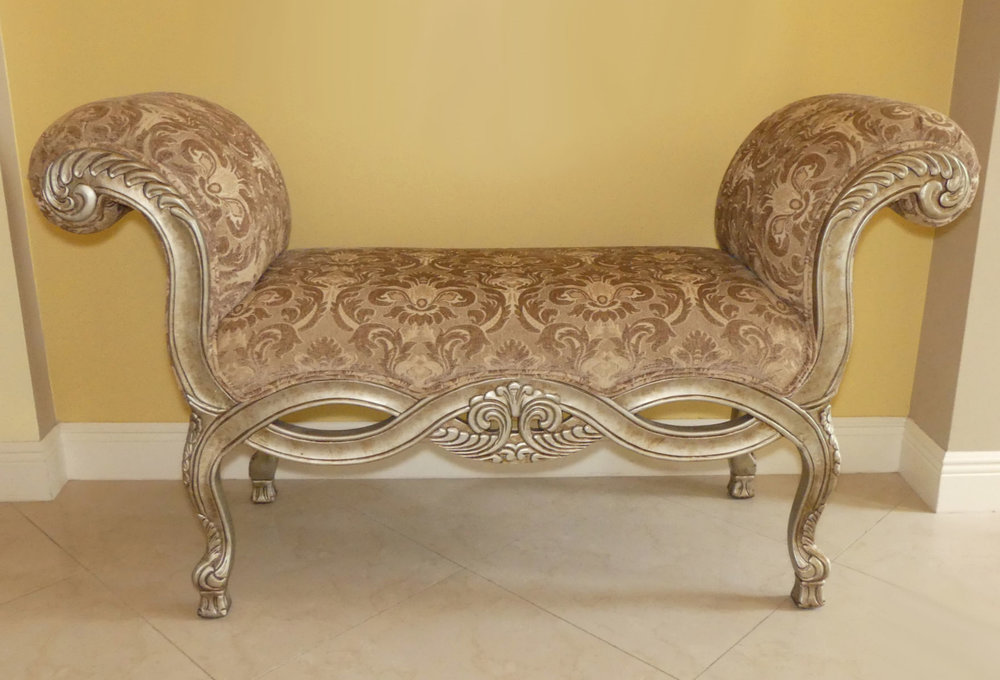 Woodmark Giltwood Rolled Arm Upholstered Bench  $695