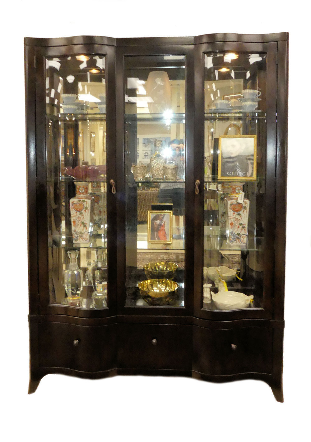 Contemporary Serpentine Dark Wood China Cabinet  $950