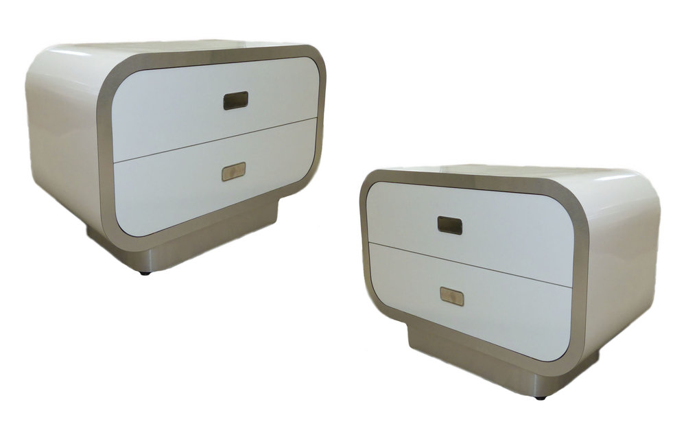 Pair of 2 Vintage White Laminate and Brushed Chrome Nightstands   $1,400