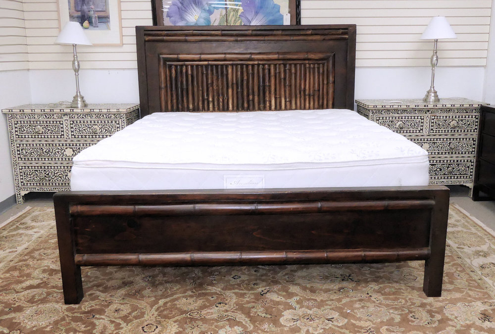Rustic Bamboo and Wood Polynesian Style King Size Bed  $1,895
