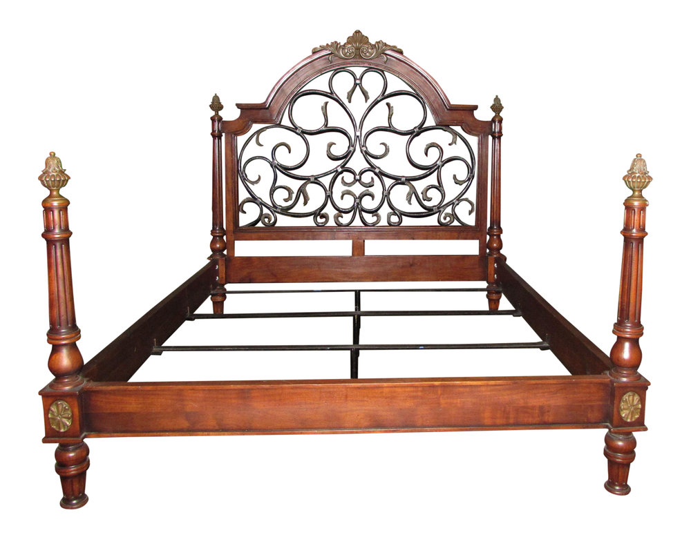 Mahogany Iron & Brass California King Poster Bed  Showroom Floor Sample  REDUCED: $2,995 / Originally: $3,800