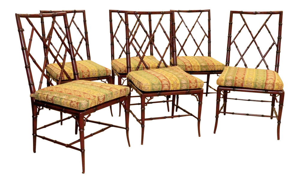 Sold Set of 6 - Woodbridge Furniture Carved Wood Faux Bamboo Brighton Side Chairs