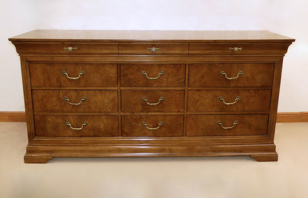 SOLD Thomasville 12-Drawer Triple Dresser with Burl Wood Drawer Fronts