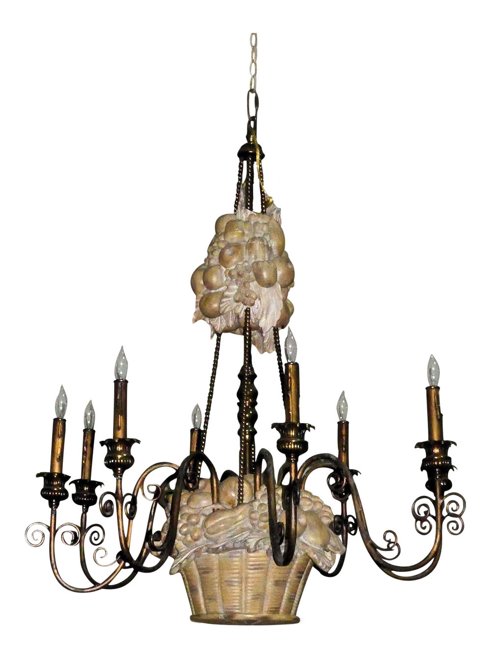 Maitland Smith 8-Light Fruit Basket Motif Chandelier   REDUCED: $2,795  / Originally: $3,895
