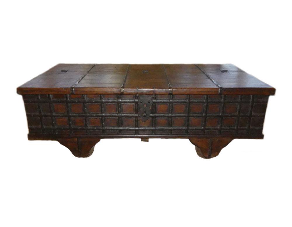 SOLD  Wood & Iron Bend Pitara Storage Coffee Table on Wheels