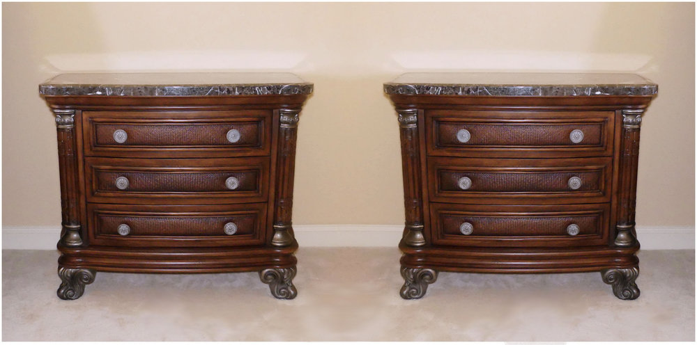 SOLD Pair of 2 Collezione Europa Marble Top Nightstands with Rattan Accents