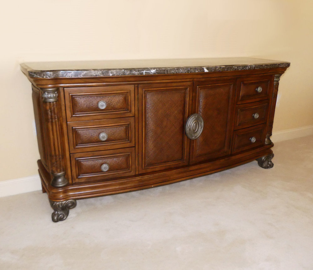 Collezione Europa Marble Top Dresser with Rattan Accents  $995