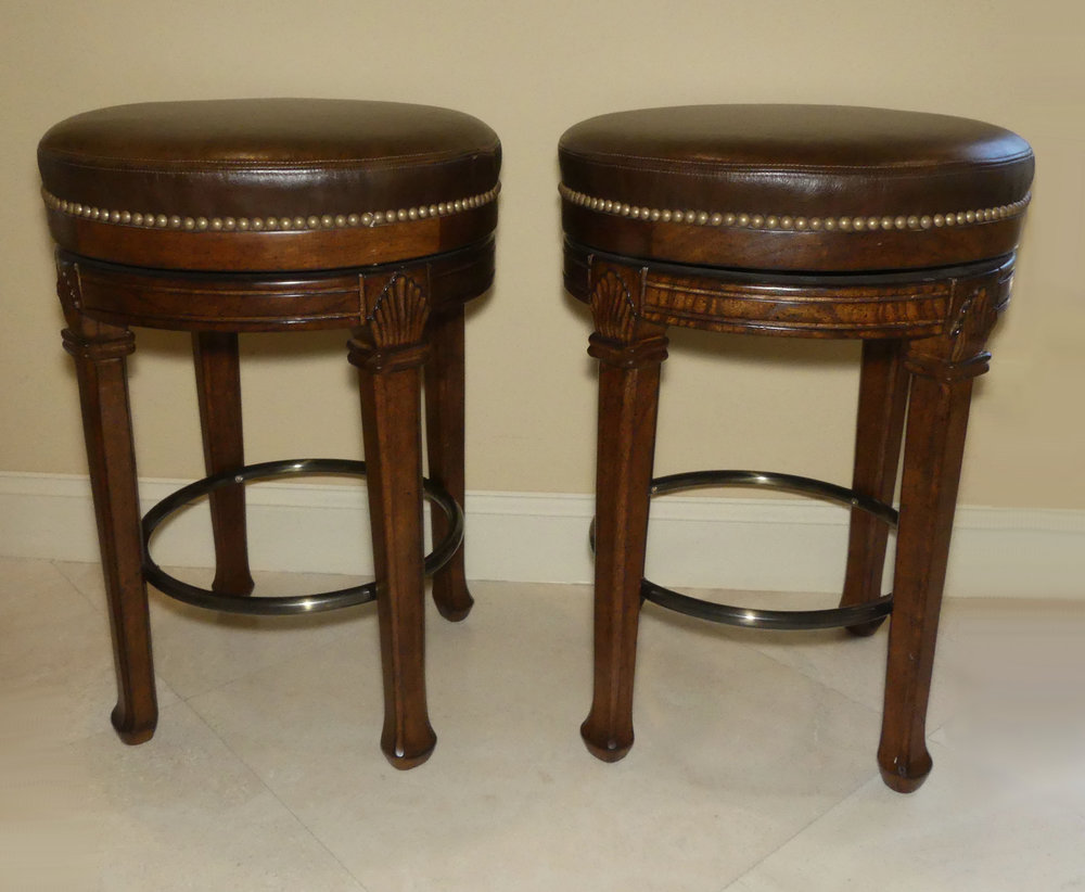 SOLD Pair of 2 PAMA Furniture Leather Swivel Counter Stools