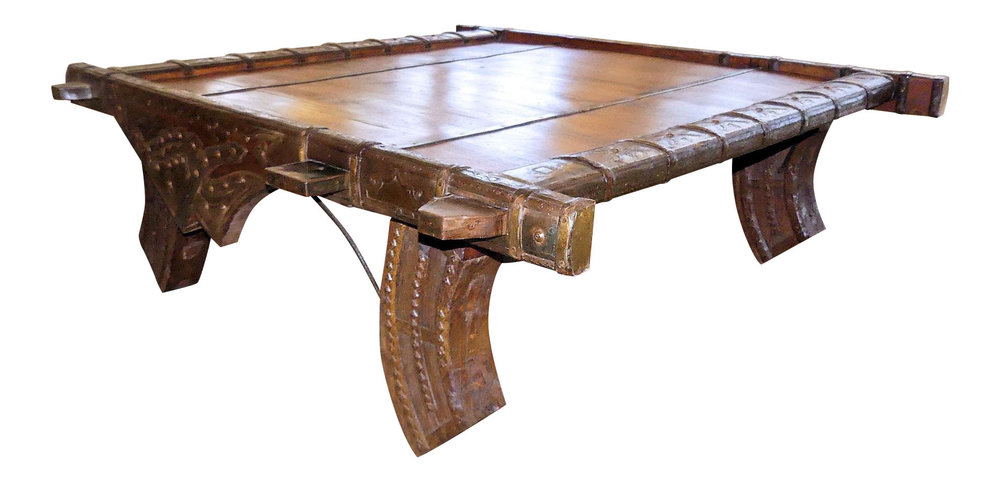 SOLD Vintage Ox Cart Re-purposed as a Coffee Table