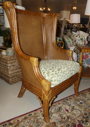 SOLD Lane Venture Rattan Wing Chair