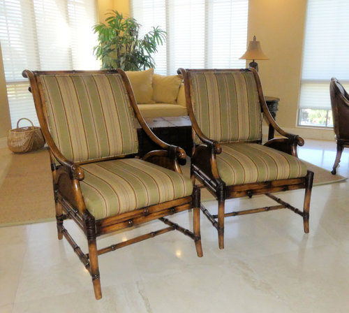 SOLD Pair of 2 Schnadig Bamboo & Rattan Arm Chairs with Leather Trim