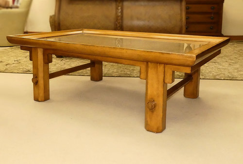 Century Furniture Cocktail Table w Glass & Linen Top  $1,295