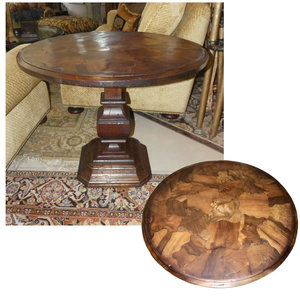 Rustic Pedestal Table with Unique Wood Inlays  $1,200